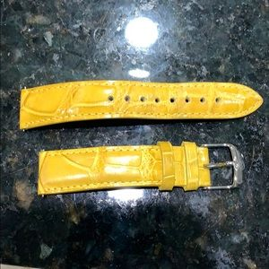 Yellow leather 18mm Michele watch band